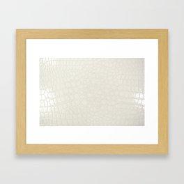 White Faux Croc Framed Art Print