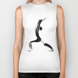 Moder black and white, minimalist ink figure yoga drawing, yoga illustration, yoga pose, yoga art Biker Tank