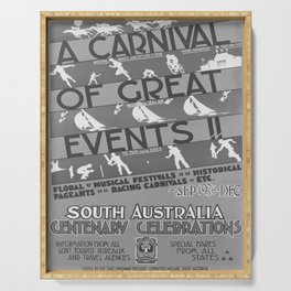 retro vintage A carnival of great events poster Serving Tray