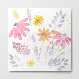 Wild Bohemian Watercolor Flowers Metal Print