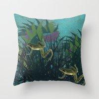 frog Throw Pillows featuring frog by giancarlo lunardon