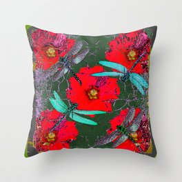 ANTIQUE CRACKLED  BLUE DRAGONFLIES ON RED HOLLYHOCK FLOWERS Throw Pillow