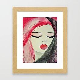 Shy Girl. Abstract Pink Girl. Pink Lips. Pink Hair. Jodilynpaintings. Eyelashes. Gift for All Girls. Framed Art Print