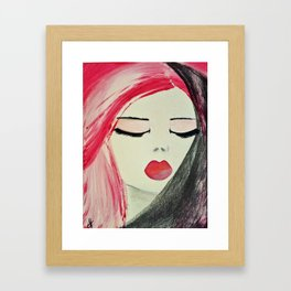 Shy Girl. Abstract Pink Girl. Pink Lips. Pink Hair. Jodilynpaintings. Eyelashes. Gift for All Girls. Framed Art Print