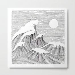 Wave Black and White Line Art Metal Print