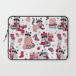 Hygge raccoon // white background Laptop Sleeve