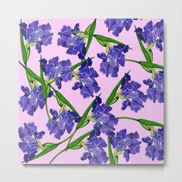Watercolour Iris pattern pink background Metal Print