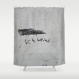 ich weine - black tag on gray concrete Shower Curtain