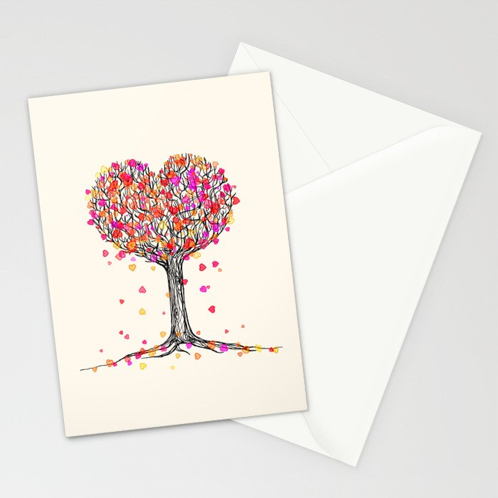 Love in the Fall - Heart Tree Illustration Stationery Cards