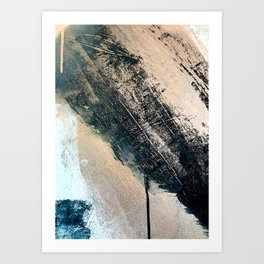 Honey 2: a pretty, minimal abstract mixed-media piece in blue, gold, and pink Art Print