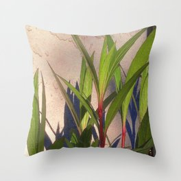 Long Green Leaves and Shadows Throw Pillow