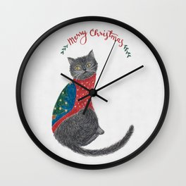 Cat in christmas sweater Wall Clock