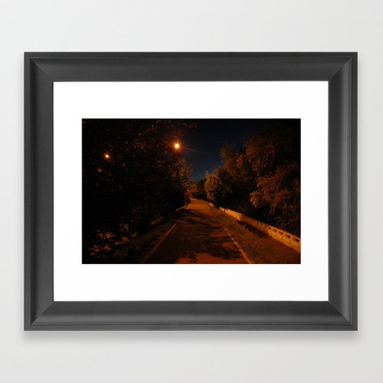 Night near the river Framed Art Print