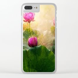Pink Lotus Flower Clear iPhone Case