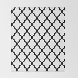 Moroccan Quatrefoil Pattern: Black & White Throw Blanket