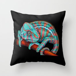 Panther Chameleon Turquoise Blue & Coral Red Throw Pillow