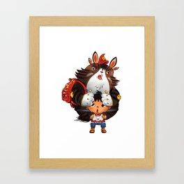 Bag Raccoon Monster Framed Art Print