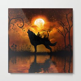 Awesome wolf and fairy Metal Print