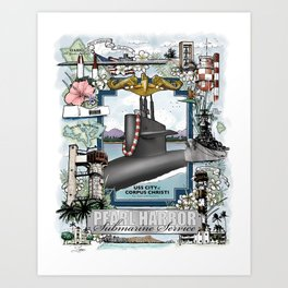 USS City of Corpus Christi - Pearl Harbor Submarine Service (Gold Dolphins) Art Print