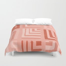 Painted Color Block Squares in Peach Duvet Cover