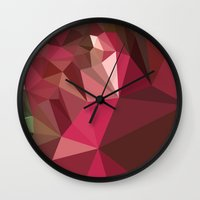 jazzberry blue Wall Clocks featuring Jazzberry Jam Purple Abstract Low Polygon Background by patrimonio