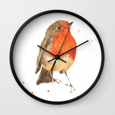 Robin, robin redbreast, songbird, garden birds, Christmas, hostess gift Wall Clock