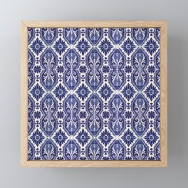 Portuguese Tiles Azulejos Blue White Pattern Framed Mini Art Print