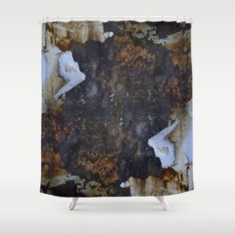 Old white paint on rusty metal Shower Curtain