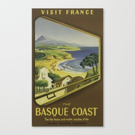 Vintage Travel Poster - French National Railroads - Vintage France Travel Poster Canvas Print