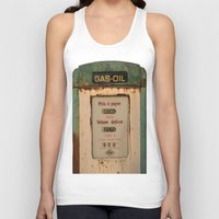 pocket fuel Tank Tops featuring old pump fuel by frenchtoy
