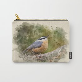 Nuthatch Watercolor Art Carry-All Pouch