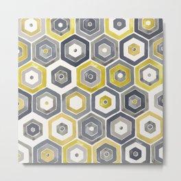 Watercolor Hexagons Metal Print
