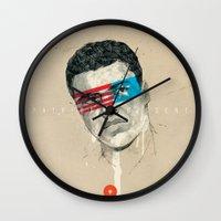 superheroes Wall Clocks featuring Superheroes SF by Blaine Fontana