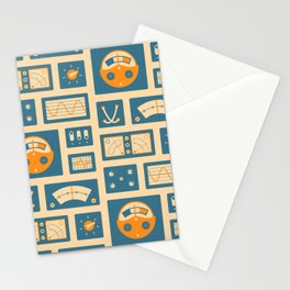 Mission Control - Peach & Blue Stationery Cards