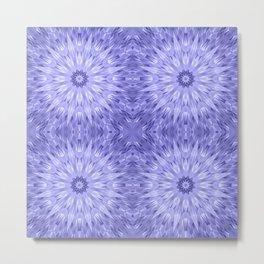 Periwinkle Crystal Mandala Pattern Metal Print