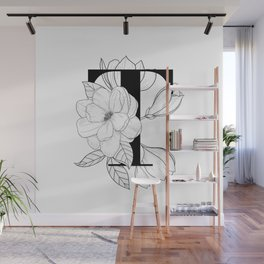 Monogram Letter T with Magnolia Line Art  Wall Mural