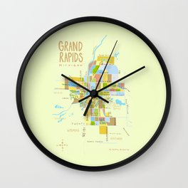 Illustrated Grand Rapids Map Wall Clock