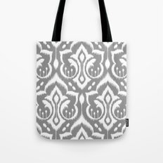Ikat Damask Gray Tote Bag