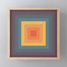 Rainbow Colored Retro Square Shape Framed Mini Art Print