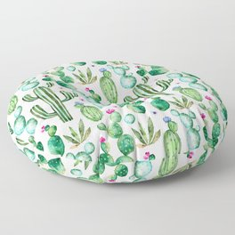 Watercolor Cactus Pattern Floor Pillow