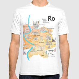 Rome Italy Illustrated Travel Poster Favorite Map Tourist Highlights T-shirt