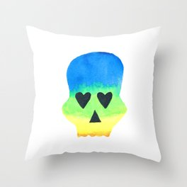 Rainbow Skull with Heart Eyes with Watercolor Effect Throw Pillow