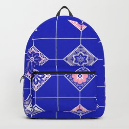 Talavera Mexican Tile – Pink & Periwinkle Palette Backpack