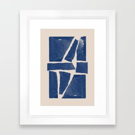 Watercolor collage, Paper Collage, Blue and Beige Framed Art Print