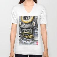 samurai V-neck T-shirts featuring Samurai by rchaem