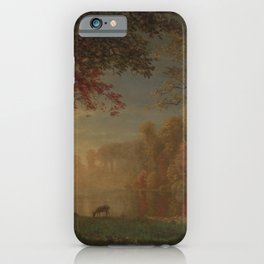 Indian Sunset - Deer by a Lake by Albert Bierstadt iPhone Case