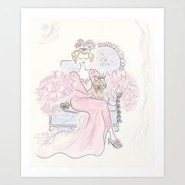 Vintage Pink Fashion with Pretty Yorkie Dog Art Print