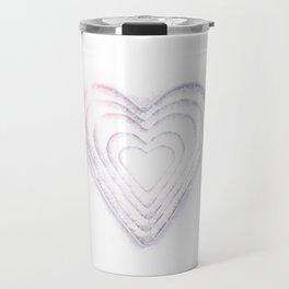 White Snow Heart On A White Background #decor #society6 #buyart Travel Mug