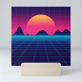Throwback Sunset Synthwave Mini Art Print