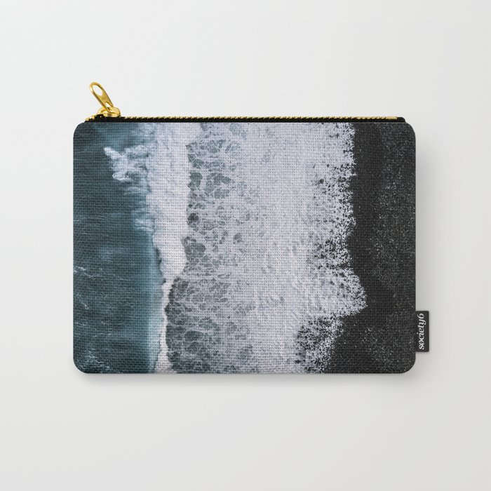 Aerial of a Black Sand Beach with Waves - Oceanscape Carry-All Pouch